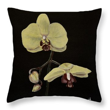 Yellow Orchid Throw Pillow