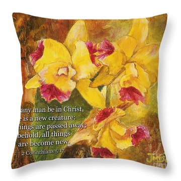 Yellow Orchids Acrylic 2 Cor 5 Throw Pillow
