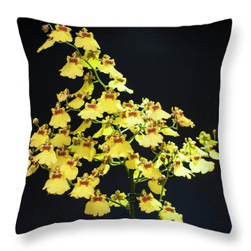 Yellow Orchids Throw Pillow by Lana Enderle