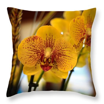 Yellow Orchis Throw Pillow