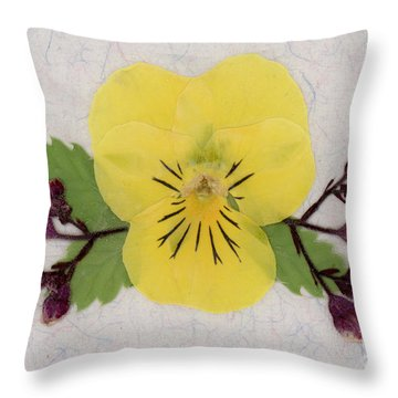 Yellow Pansy And Coral Bells Pressed Flowers Throw Pillow