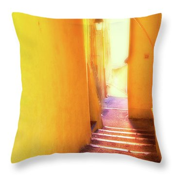 Throw Pillow featuring the photograph Yellow Passage  by Harry Spitz