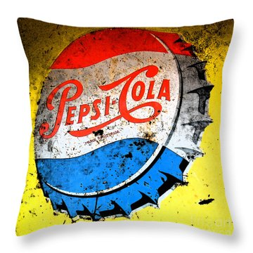 Yellow Pepsi Pop Art Throw Pillow by Gary Everson