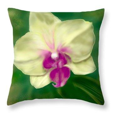 Yellow Phalenopsis Throw Pillow