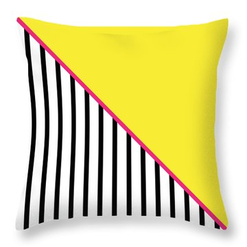 Yellow Pink And Black Geometric Throw Pillow