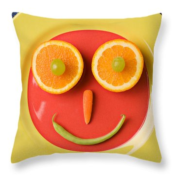 Yellow Plate With Food Face Throw Pillow by Garry Gay