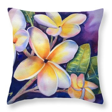 Yellow Plumeria Flowers Throw Pillow
