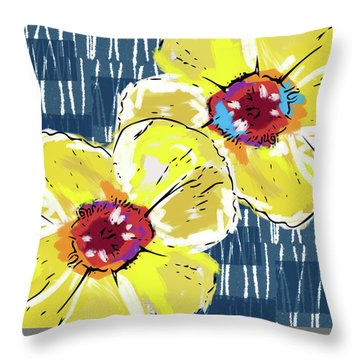 Yellow Poppies 2- Art By Linda Woods Throw Pillow by Linda Woods