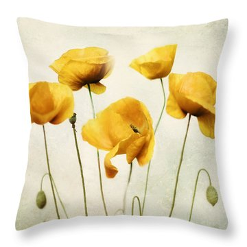 Yellow Poppies - Square Version Throw Pillow