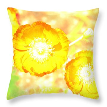 Yellow Poppies Throw Pillow