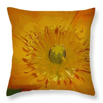 Throw Pillow featuring the photograph Yellow Poppy by Donna Bentley