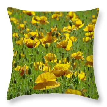 Yellow Poppy Field Throw Pillow