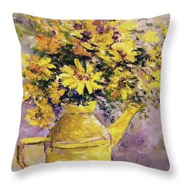 Yellow Pot Of Sunshine Throw Pillow