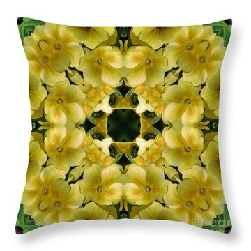 Yellow Primrose Kaleidoscope Throw Pillow