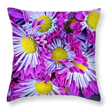Yellow Purple And White Throw Pillow by AJ  Schibig