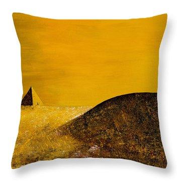 Yellow Pyramid Throw Pillow by Mayhem Mediums