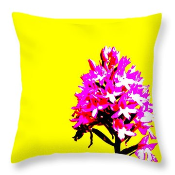 Yellow Pyramid Orchid Throw Pillow