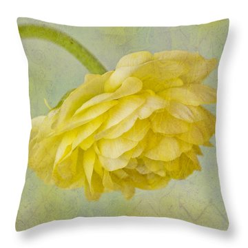 Yellow Ranunculus Macro Throw Pillow by Sandra Foster