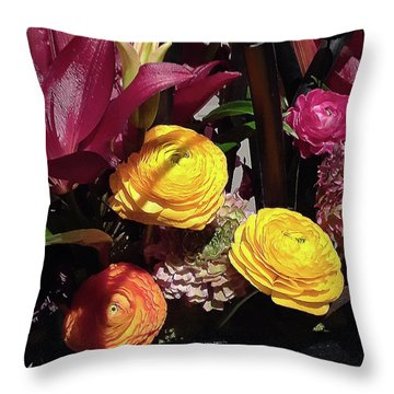 Yellow Ranunculus Purple Lily Flowers Bouquet Throw Pillow