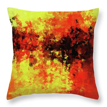 Throw Pillow featuring the painting Yellow, Red And Black by Ayse Deniz
