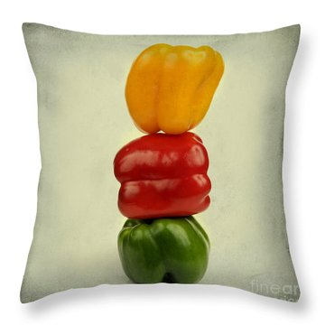 Yellow Red And Green Bell Pepper Throw Pillow by Bernard Jaubert