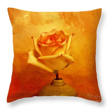 Yellow Red Orange Tipped Rose Throw Pillow by Marsha Heiken