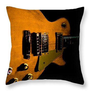 Yellow Relic Guitar Hover Series Throw Pillow