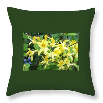 Yellow Rhododendron Throw Pillow by Carla Parris