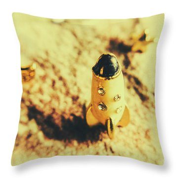 Yellow Rocket On Planetoid Exploration Throw Pillow