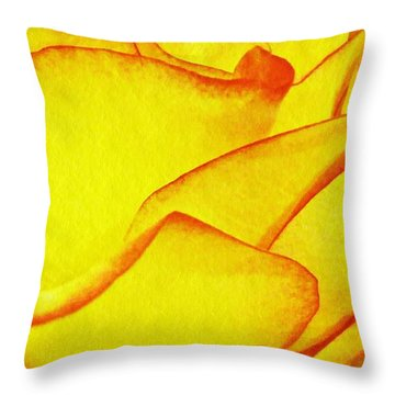 Yellow Rose Abstract Throw Pillow