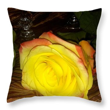 Yellow Rose And Grapes Throw Pillow