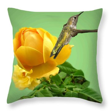 Yellow Rose And Hummingbird 2 Throw Pillow by Joyce Dickens