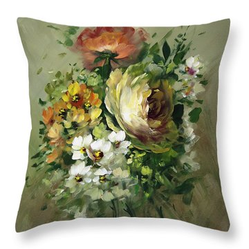 Yellow Rose And White Blossoms Throw Pillow by David Jansen
