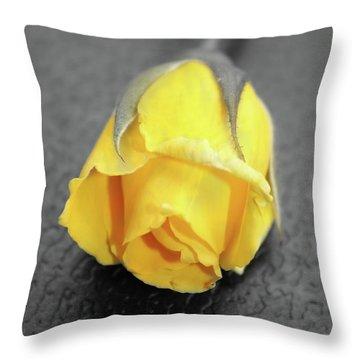 Yellow Rose Throw Pillow by Angel Jesus De la Fuente