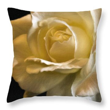 Yellow Rose Faux Oil Painting Throw Pillow