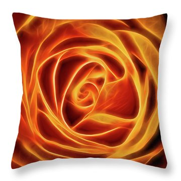 Yellow Rose Glow Square Throw Pillow by Terry DeLuco