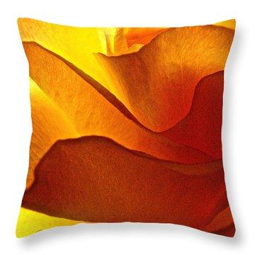 Yellow Rose In The Sun Throw Pillow by Lori Miller