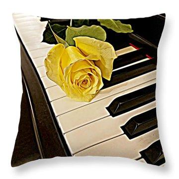 Yellow Rose On Piano Keys Throw Pillow