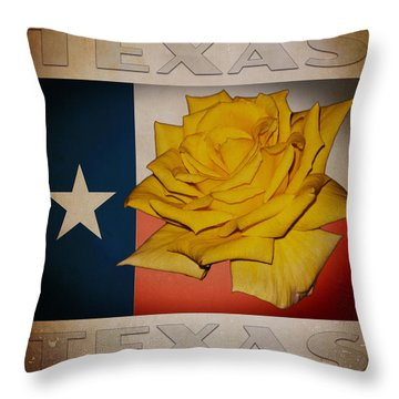 Yellow Rose On Texas Throw Pillow