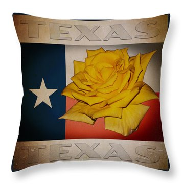Yellow Rose On Texas Throw Pillow by William Havle