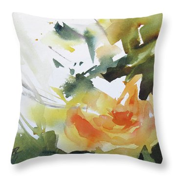 Yellow Rose Throw Pillow by Rae Andrews