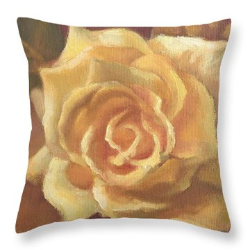 Yellow Rose Throw Pillow by Sharon Weaver