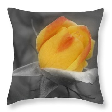 Yellow Rosebud Partial Color Throw Pillow