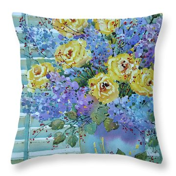 Yellow Roses And Lilacs Throw Pillow