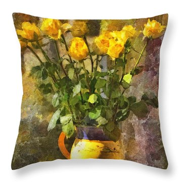 Yellow Roses Bouquet Throw Pillow
