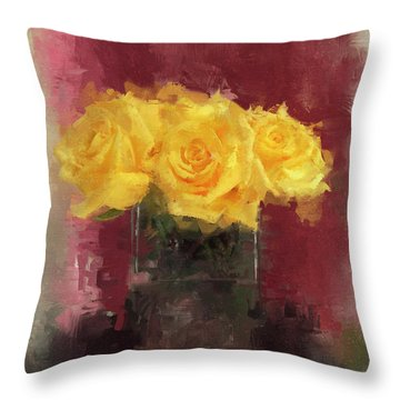 Throw Pillow featuring the digital art Yellow Roses by Dwayne Glapion
