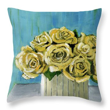 Yellow Roses In Vase Throw Pillow