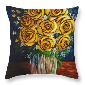 Throw Pillow featuring the painting Yellow Roses by Katherine Young-Beck