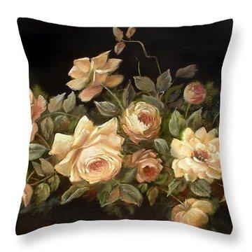 Yellow Roses On Black  Throw Pillow