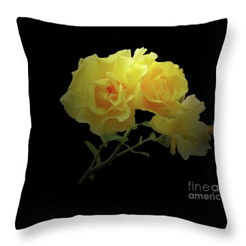 Yellow Roses On Black Throw Pillow